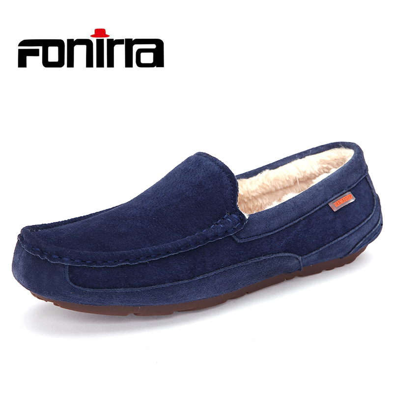 FONIRRA New Casual Shoes Winter Fur Men Loafers Slip On Pig Suede Leather Moccasins Plush Driving Shoes Warm Snow Shoes  754 fonirra genuine cow leather mens loafers moccasins leather men flats slip on men leather shoes men driving shoes 720