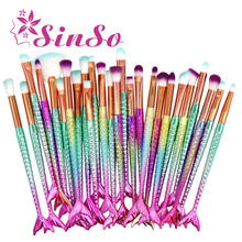 SinSo 4-20pcs Professional Mermaid Makeup Brushes Set Foundation Blush Eye Shadow Eyeliner Lip Brush Cosmetic Make up Brush Tool