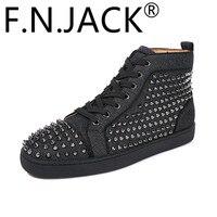 FNJACK модные кроссовки Луи Шипы плоские высокие мужские модные кроссовки Высокое качество Красный обувь с мягкой подошвой