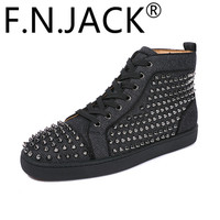 FNJACK Fashion Louis Spikes Flat High-Top Sneakers Mens Fashion Trainers High Quality Red Bottom Shoes