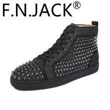 FNJACK 패션 운동화 루이 스파이크 플랫 하이 탑 남성 패션 트레이너 고품질 레드 맨 신발
