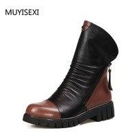 Женская зимняя обувь шерсть Ботильоны из натуральной кожи на молнии ботинки «Мартенс» на плоской платформе зимние сапоги LID013 muyisexi