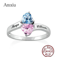 Amxiu Customized Two Names 100% 925 Sterling Silver Ring Heart Shaped Birthstones Engraved Letters Rings Personalized Name Ring