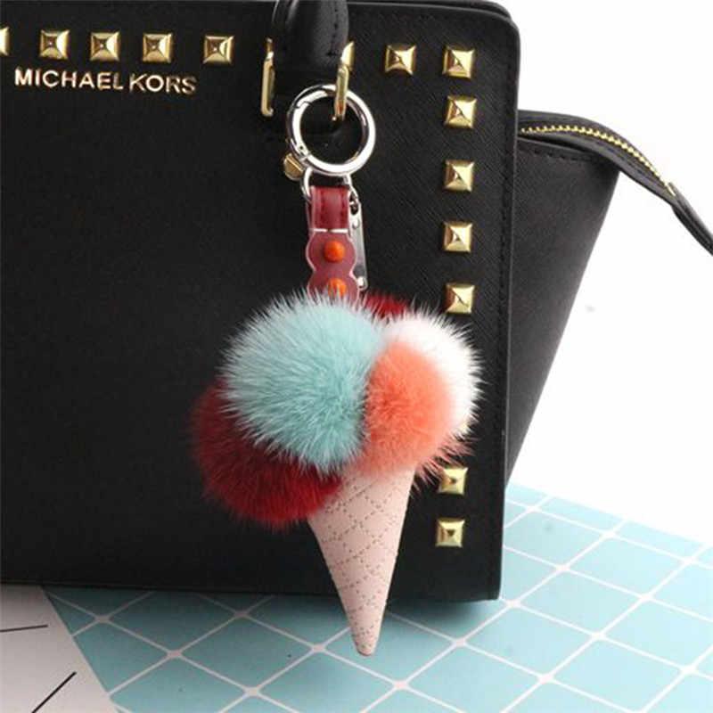 Moda de Nova Fur Keychain Lce Creme Chaveiro Para As Mulheres de Peles de Vison Cabelo Pele Macia Bola Pom Pom Cadeia Chave Do Carro saco de Chaveiro Pingente