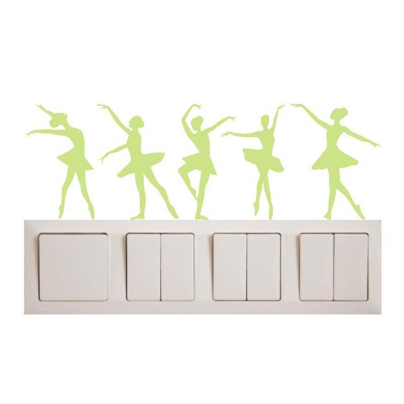New 1PCS Luminous Cartoon DIY ballerina Switch Sticker for kids room Wall Sticker Decoration Fluorescent Living Room Home Decor
