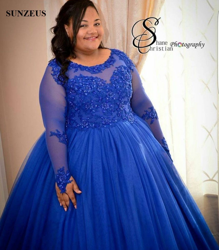 Custom made Plus Size Evening Dress Royal Blue Puffy Tulle Long ...