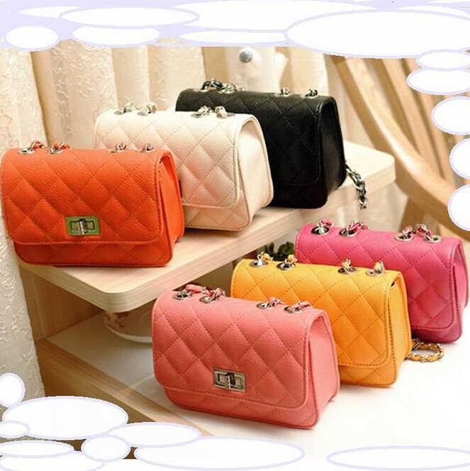 Nuove borse di moda di Alta qualità di cuoio DELL'UNITÀ di elaborazione Delle Donne del sacchetto di Piccolo incenso vento catena Losanga Spalla sacchetto A Chiusura Stereotipi reticolo