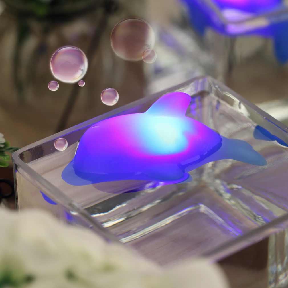 الجدة LED دولفين ليلة الخفيفة إحساس اللمس تغيير لون وامض الجدول مصباح للماء الحمام الإضاءة لعب للأطفال الطفل
