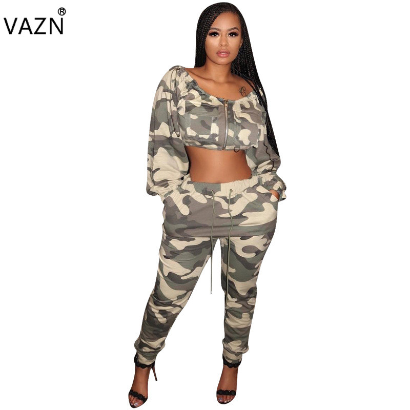 Useful Vazn Spring 2019 High Street Sexy Style Women 2 Piece Set Camouflage O-neck Full Sleeve Long Pants Hollow Out Slim Set Yz917 Suits & Sets Women's Sets