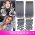 2016 Most Popular Silver Gray Ombre Synthetic Clips On Hair Pieces Granny Hair Five Clips One Pieces Clip In Hair Extensions
