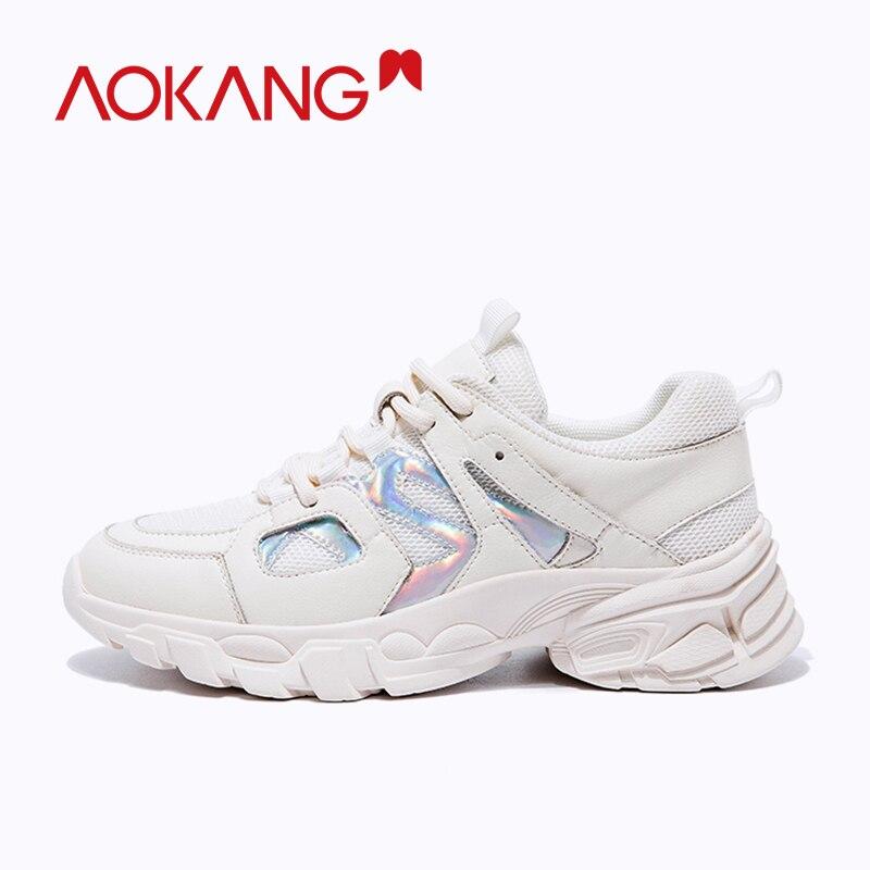 Ayakk.'ten Kadın Topuksuz Ayakkabı'de AOKANG 2019 moda ins ayakkabı kadın rahat ayakkabılar yumuşak ayakkabı lace up platformu kadın ayakkabı yaz yürüyüş ayakkabısı yüksek kalite'da  Grup 2