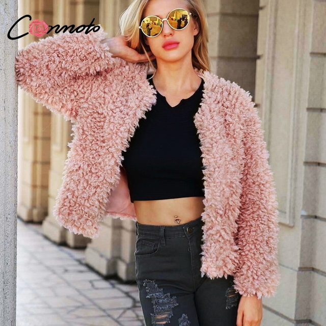 3682f578a9b Conmoto Plus Size S-3XL Teddy Fluffy Pink Faux Fur Coat Women 2018 Winter  Warm