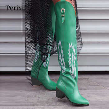 Perixir Fashion Embossed Women Knee High Boots Pointed Toe Western Cowboy Boots Women Mid-calf Chunky Wedges Boots Runway - DISCOUNT ITEM  50 OFF Shoes
