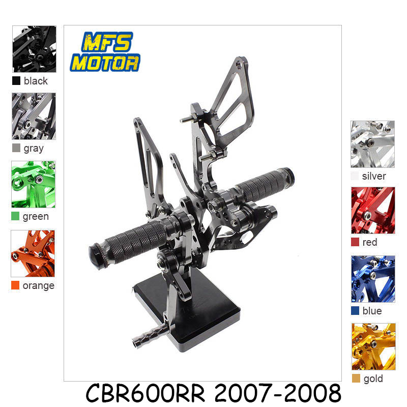 For Honda CBR600RR Motorcycle Foot Pegs CNC Adjustable Rearset Foot Rests CBR 600RR CBR600 RR 2007 2008 Footrests Footpegs Pedal