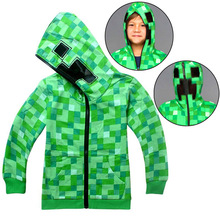 2018 Spring and Autumn Children Cartoon Minecraft Adventure Game Boys and Girls Cotton Long Sleeve Zip Hoodie T-Shirt clothing autumn clothing pokemon hoodie children t shirts cartoon pikachu charmander boys clothes cotton pocket monster girls clothing