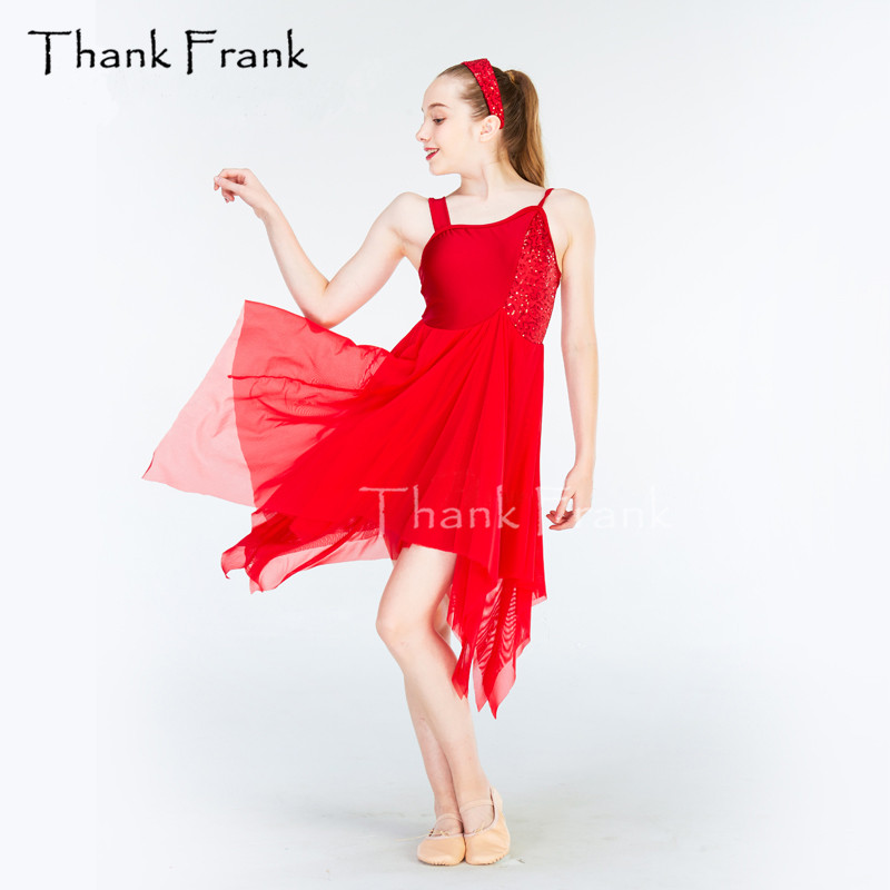 Thank Frank Sequin Chiffon Camisole Latin Dress Girls Adult Red Ballet Lyrical Contemporary Dance Costume C370