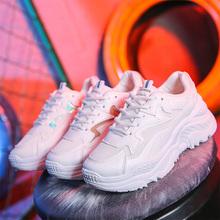 2019 damskie buty Tenis Feminino białe buty trampki damskie modne buty na platformie buty damskie oddychające oczek kobiet Sneakers tanie tanio LAKESHI Aplikacje Mieszane kolory Dla dorosłych Mesh Fabric Wiosna jesień Mieszkanie (≤1cm) Lace-up Pasuje prawda na wymiar weź swój normalny rozmiar