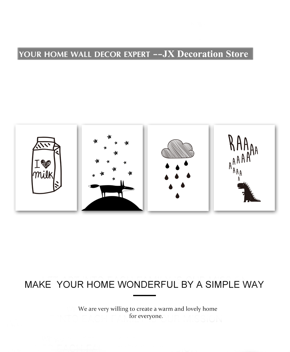 Milk Cloud Dinosaur Cartoon Poster Black White Modern Canvas Painting Wall Art Prints Modular Wall Picture For Children Bedroom (2)