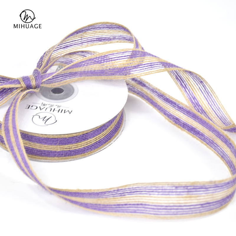 MiHuaGe 2.5cm Flax Ribbon Wedding Streamers Festival Parts Wrapping For Wrap Tissue Flowers Decor Packing
