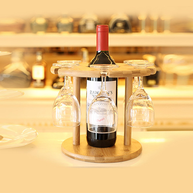 Bambus Wein Getrankehalter 6 Locher Mode Becher Rack Home Bar