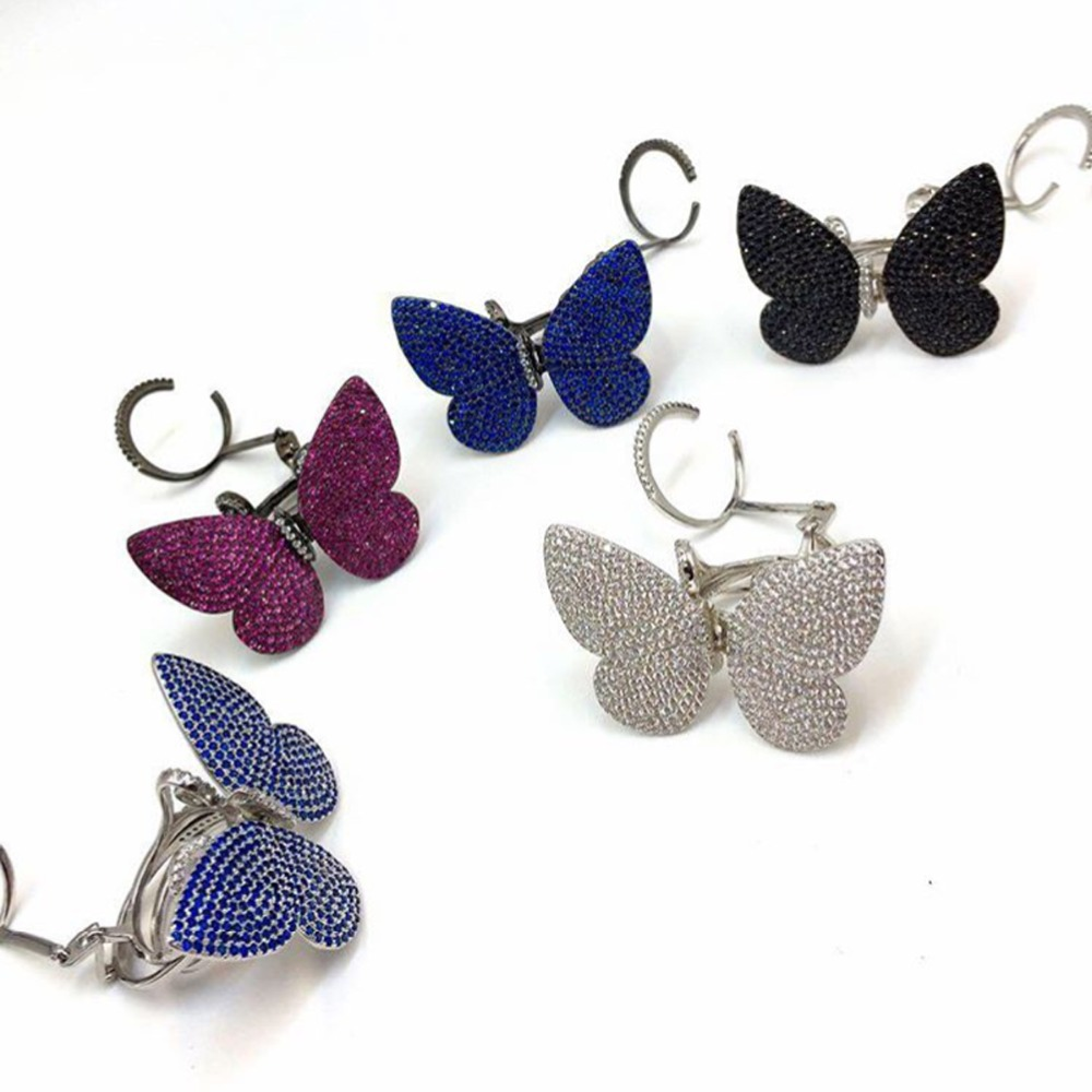 Réel 925 argent haute qualité à la mode Unique anneau Micro pavé brillant CZ mobile battement ailes papillon forme bijoux pour P