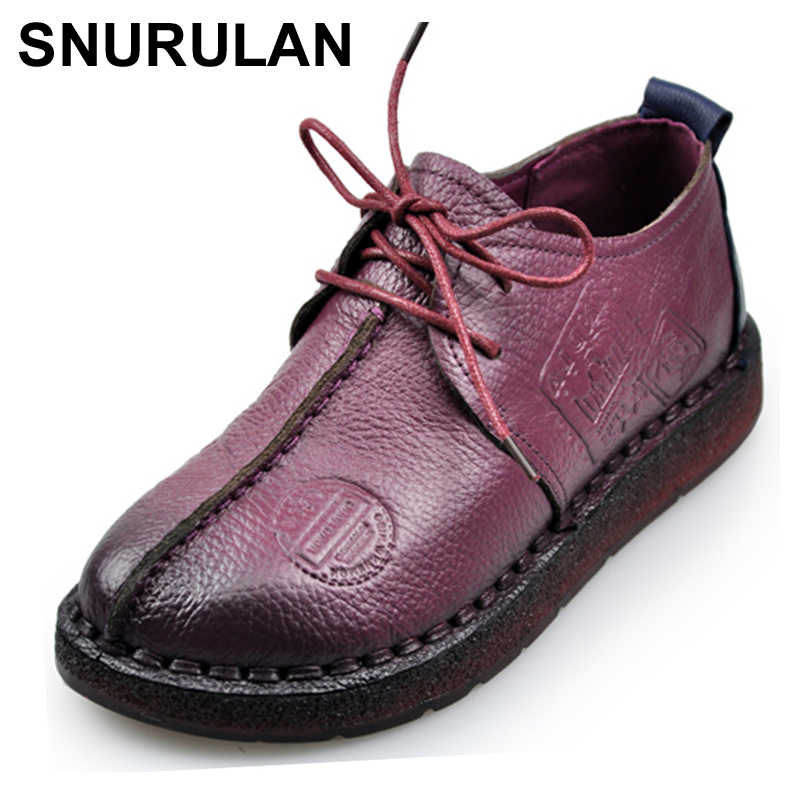 SNURULAN Fashion Retro Hand-Sewing Shoes Women Flats Genuine Leather Soft Bottom Women Shoes Soft Comfortable Casual Shoes E066