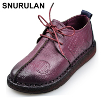 SNURULAN Fashion Retro Hand Sewing Shoes Women Flats Genuine Leather Soft Bottom Women Shoes Soft Comfortable Casual Shoes E066