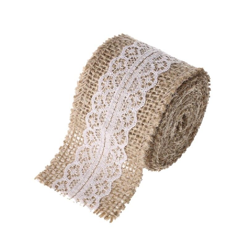 XQK Rollo de encaje de lino rollo de lino rollo de cinta de encaje de arpillera natural port/átil m/últiples estilos de encaje hecho a mano para decoraci/ón del hogar 2