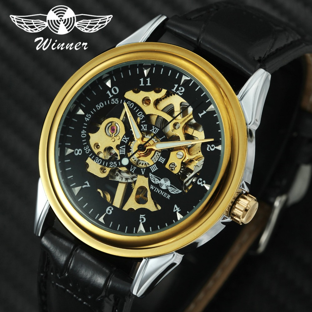 2019 WINNER Vintage Unisex Wrist Watch Leather Band Men Women Mechanical Automatic Wristwatch Skeleton Watch Gift For Lover +BOX