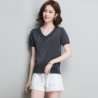 6 Colors XL Brand Tee 2019 Spring Summer Women Tee New Solid Color V neck Short Tee Fashion Slim Wild Casual Short T shirt Women
