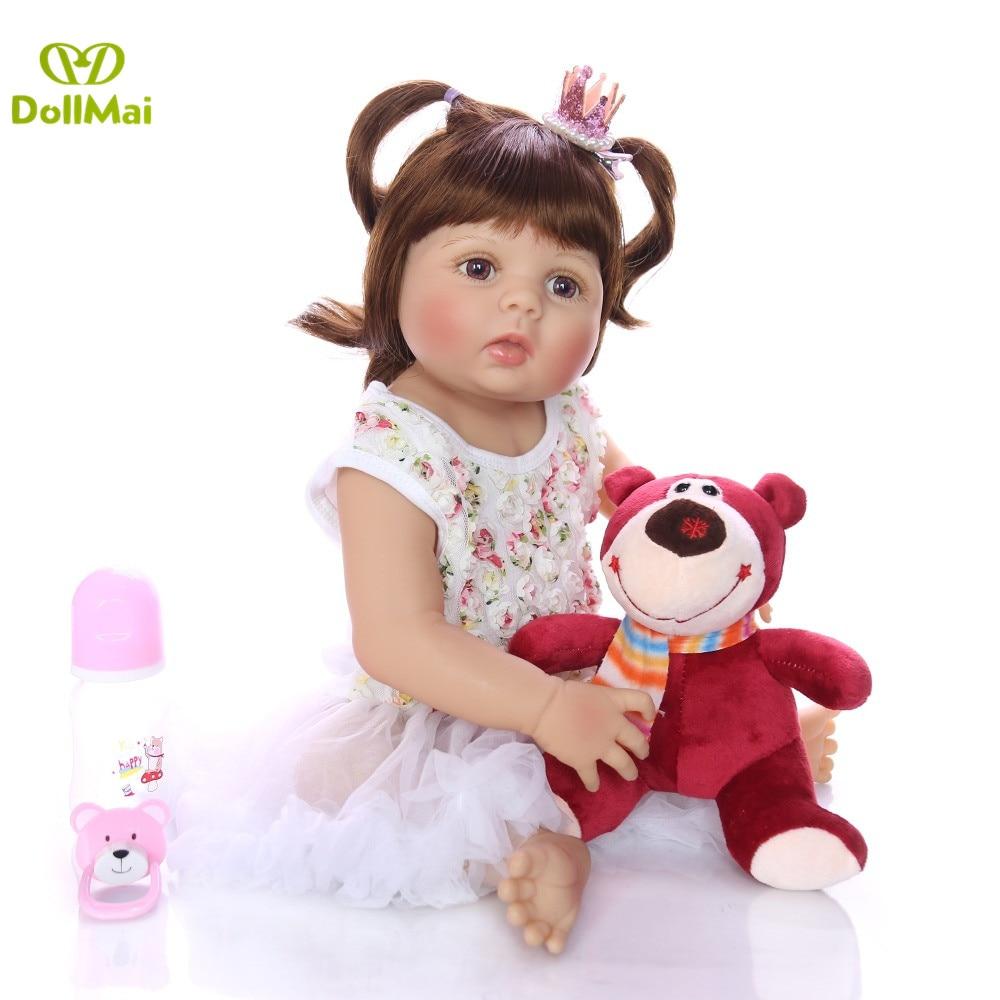 "Waterproof 23/"" Reborn Full Body Silicone Vinyl Girl Baby Doll Toddler Dolls GIFT"