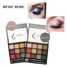 MUSIC ROSE 12colors Waterproof Matte Eye Shadow Pallete Glitter Lasting Eyeshadow Makeup With Brush Professional Comestics