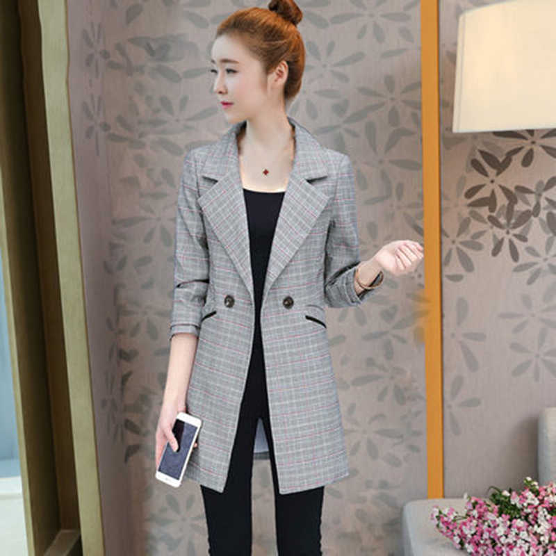 Vadim chaqueta Mujer coreano Plaid chaqueta mujeres 2018 primavera otoño  nuevo Slim manga abrigos Casual chaqueta 53bef18766e