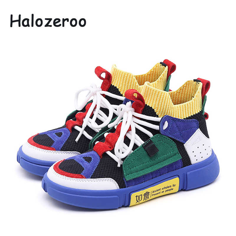 Children High Top Sneakers Kid Mesh Casual Shoes Baby Girl Fashion Sport Sneakers Boy Genuine Leather Shoes Spring Soft Trainer