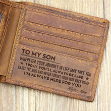 Customized Genuine Leather Wallet Mens Brown Vintage Cow Leather Cash Wallets for Men Crazy Horse Leather Mum to Son crazy mayonnaisy mum