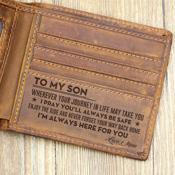 Customized Genuine Leather Wallet Mens Brown Vintage Cow Leather Cash Wallets for Men Crazy Horse Leather Mum to Son