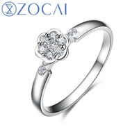 ZOCAI Style Ring Real 18K Rose Gold (Au750) stamped Real 0.15 CT H/SI Diamond Engagement Women Ring W80092T