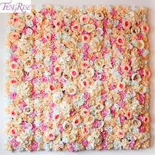 FENGRISE 40x60cm Silke Rose Flower Champagne Kunstig Blomst til Wedding Decoration Flower Wall Romantisk Wedding Backdrop Decor