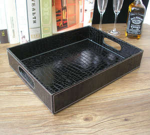 Trays Serving-Tray Black Tableware Snacks-Storage Rectangle Food-Fruit for with Cut-Out-Handle