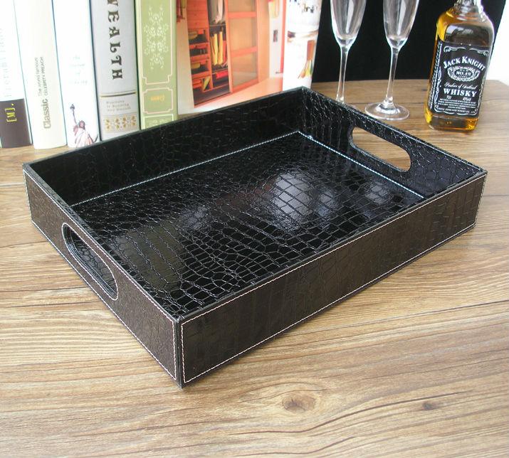 Plateau de service en cuir noir | croco rectangle, plateaux bandejas pour la vaisselle, fruits collations stockage avec poignée découpée 40x30cm