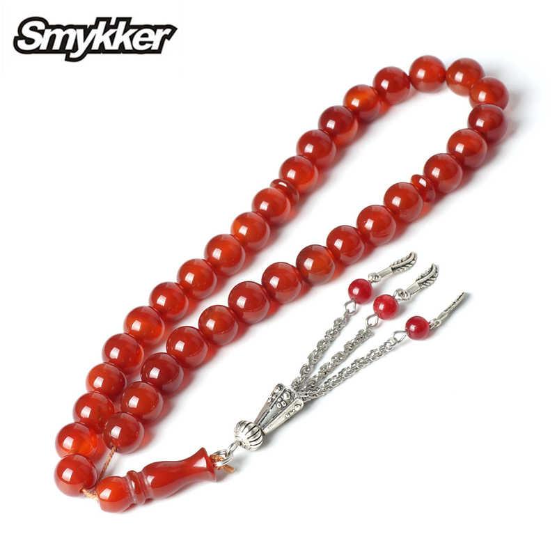 Rosario Agata Rossa Rosarys per Musulmano Islamico 33 pz Tesbih Allah 10mm Religiosa Islam Preghiera Perline di Pietra Cattolica Gioielli braccialetto