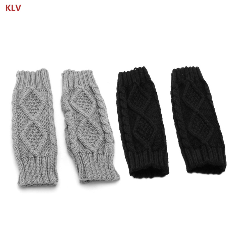 Winter Women Wrist Arm Warmer Knitted Long Fingerless Gloves Mitten