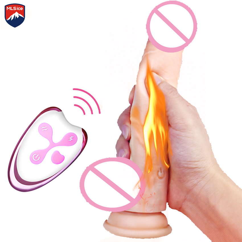 MLSice Wireless Remote Control Realistic Dildo Vibrator Automatic Thrusting Telescopic Penis Heating Thruster Sex Toys for