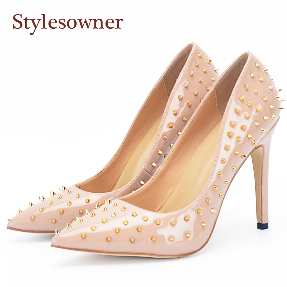 Stylesowner Spring Autumn Leather Women Pumps Sexy Pointed Toe Rivet Dress Shoes Shallow Super Thin High Heel Lady Party Shoes burgundy gray saphire blue pink women dress party career work shoes flock shallow mouth stiletto thin high heel pumps
