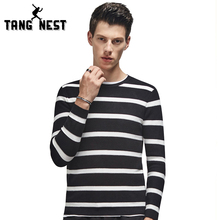 TANGNEST Men Striped Vintage Sweaters Slim Fit 2017 Warm Fashion Round Collar Male Leisure Asian Size Pullover MZM501