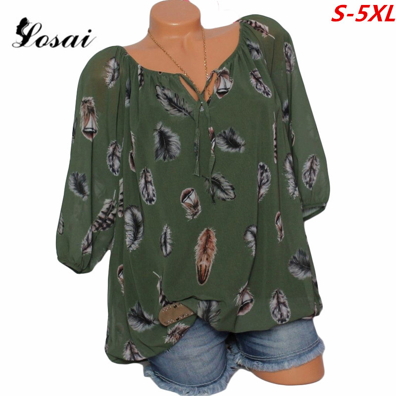 04d456fb225 WAQIA Plus Size 5XL Women Shirt Tops Feather Print Half Sleeve Ladies  V-Neck Blouse