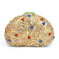 Goud Blauw en rood Crystal Bruids holle Metalen Avond clutch bag handtas box case Arc vorm avondtasje 88620-E
