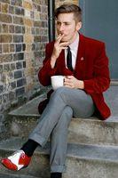Красный бархат курить мужской костюм, блейзер 3 шт мужской костюм с брюками обтягивающий официальный ночной куртка, смокинг шаль нагрудный