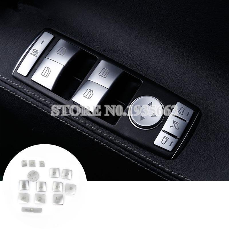 For Benz E Class W212 Inner Door Window Switch Button Trim Cover 2010-2015 14pcs for benz cla c117 w117 inner door window switch button cover 2014 2017 14pcs