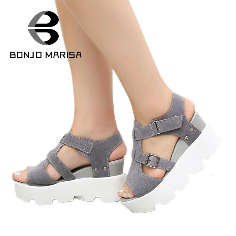 Brand Shoes Woman 2017 New Gladiator Sandals Fashion Summer Shoes Women Buckle Wedges High Heel Open Toe Platform Sandals phyanic 2017 gladiator sandals gold silver shoes woman summer platform wedges glitters creepers casual women shoes phy3323